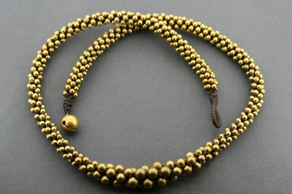 brass bead tubular necklace