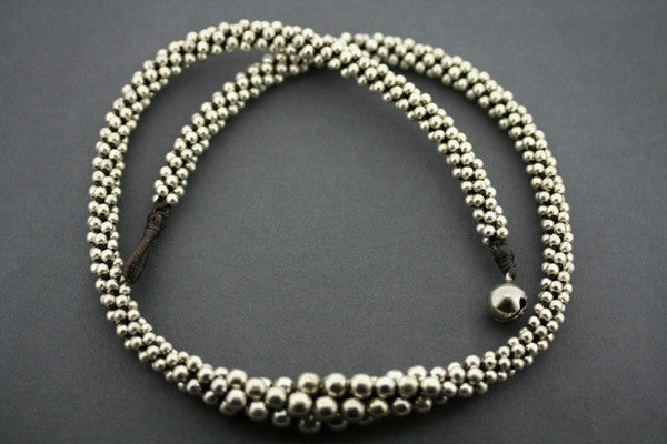 metallic bead tubular necklace