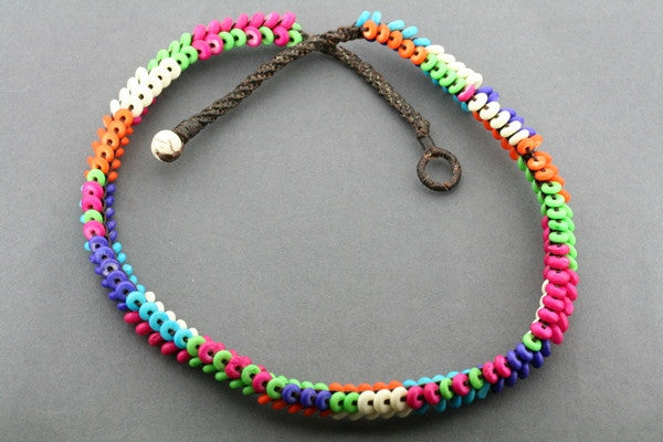 muticolour disc bead necklace