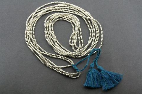 3 strand metalic bead necklace - turquoise