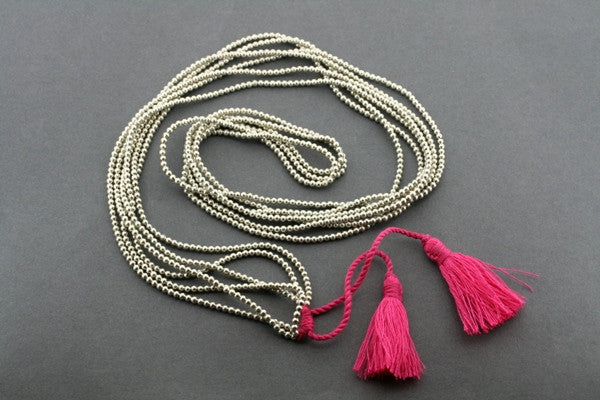 3 strand metalic bead necklace - pink