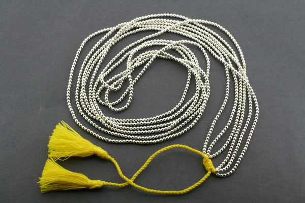3 strand metalic bead necklace - yellow