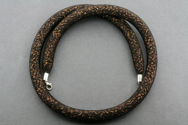 tubular bead filled necklace - black / copper