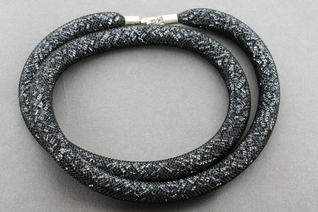 tubular bead filled necklace - black