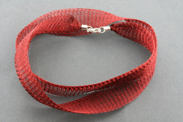 titanium mesh necklace - red
