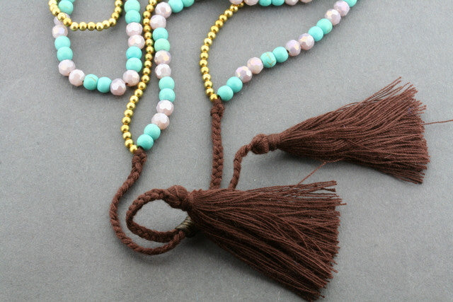 2 strand brass & turquoise tassle necklace