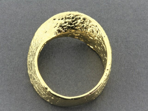 Twisted & textured band - 22 Kt gold over silver