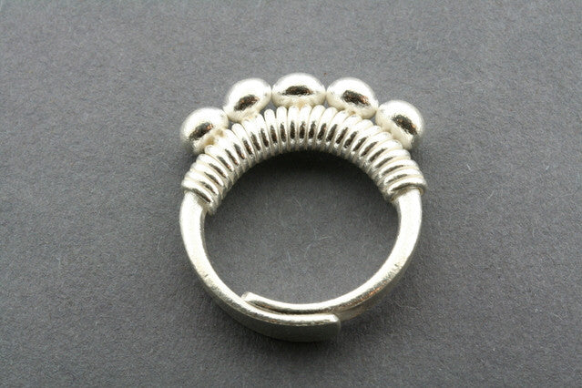 Adjustable Sterling Silver 5 Sphere Crown Ring