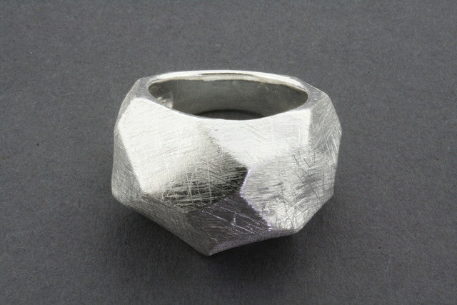 wide faceted scratched ring
