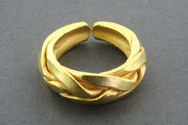 plaited ring - gold plated