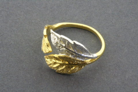 3 leaf ring - silver & gold plated - adjustable