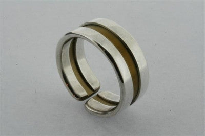 Line titanium/silver ring - earth - sterling silver & titanium