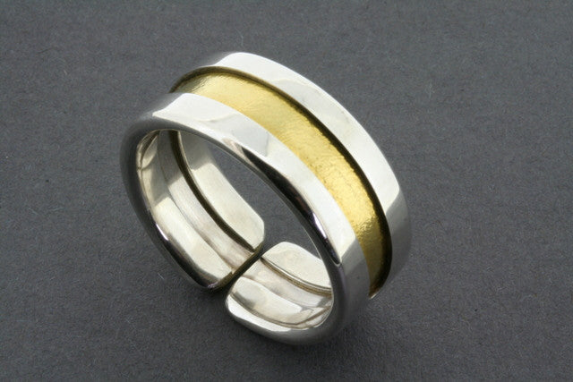 Line ring - silver with gold line
