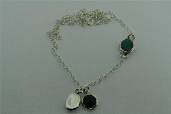 turquoise, onyx, silver necklace