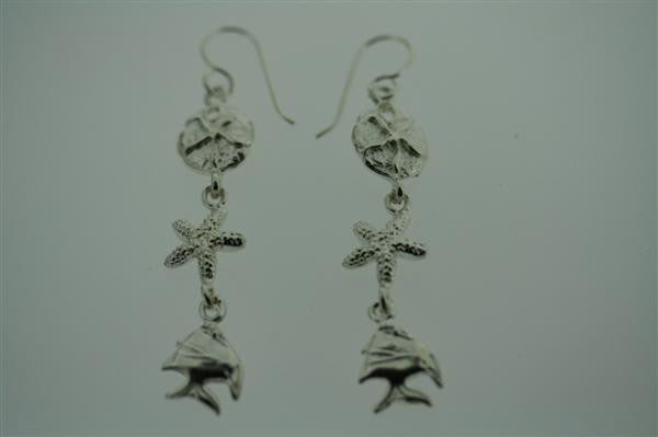 underwater life earring - sterling silver