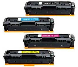 Compatible Canon 054H Set of 4 Toner Cartridges: 1 Each of Black, Cyan, Magenta, Yellow