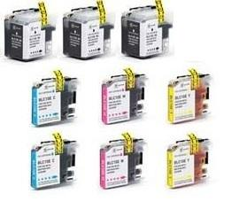 Compatible Brother LC10E Ink Cartridges (9-pack with 3 black and 2 of each color) - For Brother MFC-J6925DW Printers