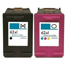 HP 62XL Ink Cartridge Set (1 C2P05AN Black & 1 C2P07AN Tricolor)
