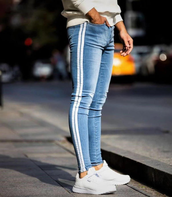 Light Blue Spray Jeans  White Striped Repaired