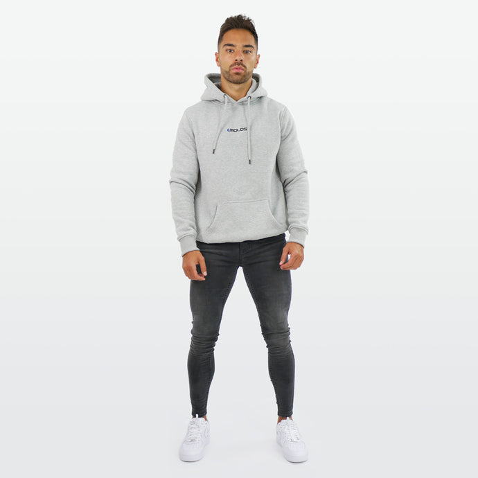 Grey  Hoodie With Small  Embossed Print