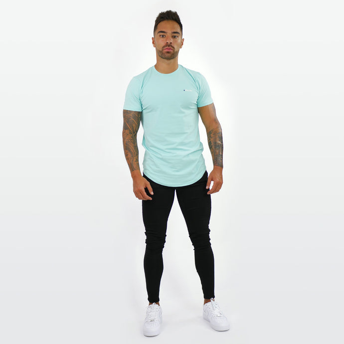 Light Turquoise T-shirt With Small  Embossed Print