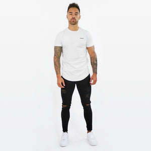White T-shirt With Small  Embossed Print