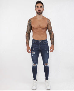 Navy Blue Spray  Jeans Repaired