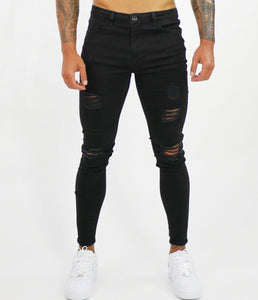 Black Spray  Jeans Repaired
