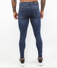 Load image into Gallery viewer, Navy Blue Spray  Jeans Repaired