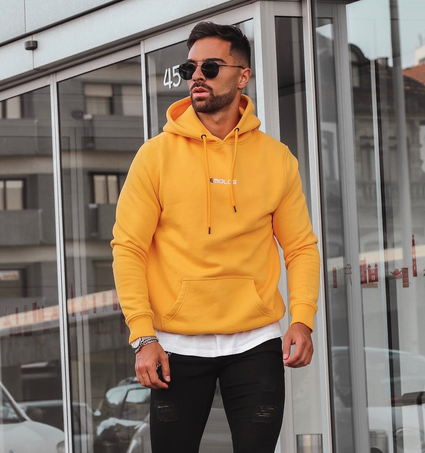 Yellow  Hoodie With Small  Embossed Print