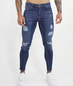 Dark Blue Spray Jeans  Repaired
