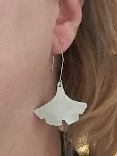 Botanical Series - Ginkgo Leaf Earrings in Recycled Sterling Silver - MARTINIJewels