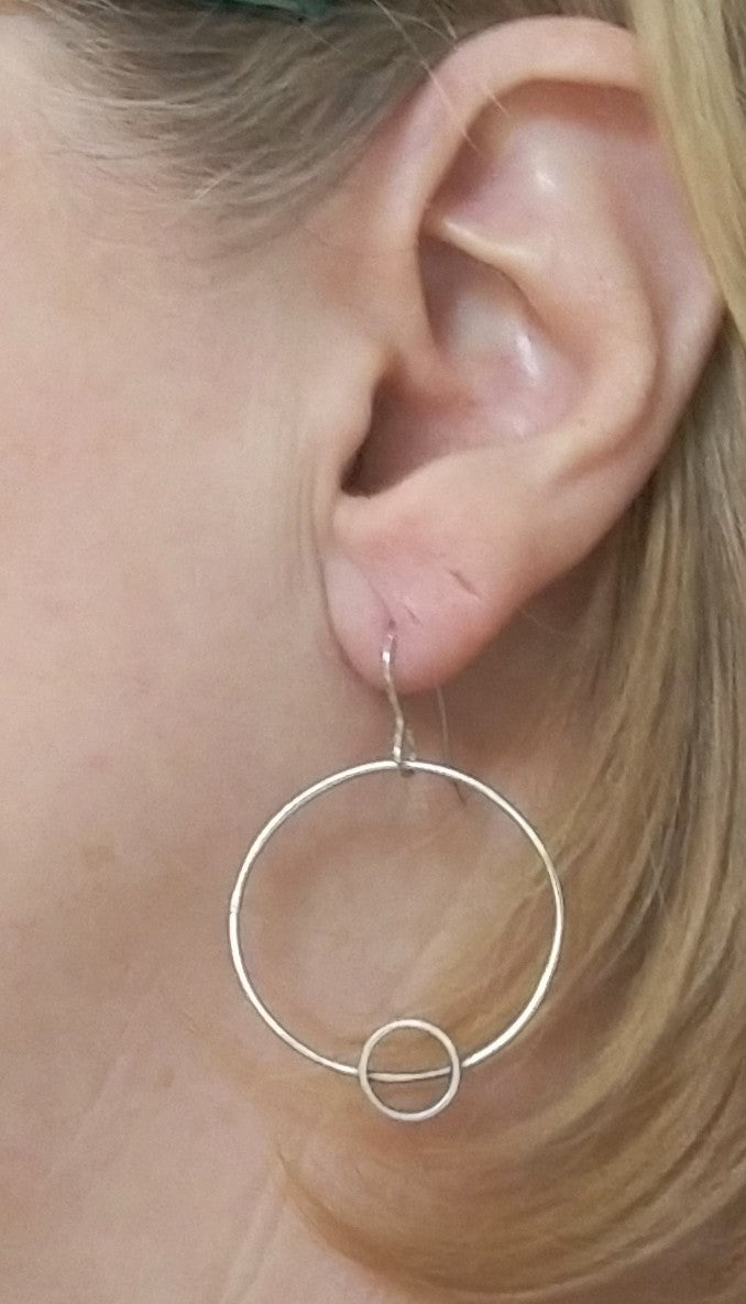 Minimalism Collection - Circle Hoop Earrings with Cylinder Detail - MARTINIJewels
