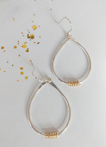 Coils Collection - Recycled Sterling Silver Teardrop Hoops with Gold Coils