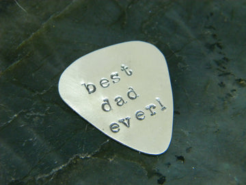Guitar Pick, Custom Stamped from Recycled Sterling Silver - MARTINIJewels