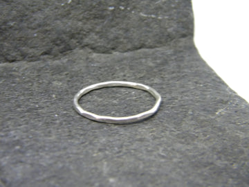 Recycled Sterling Silver Stacking Ring, Hammered FInish - MARTINIJewels