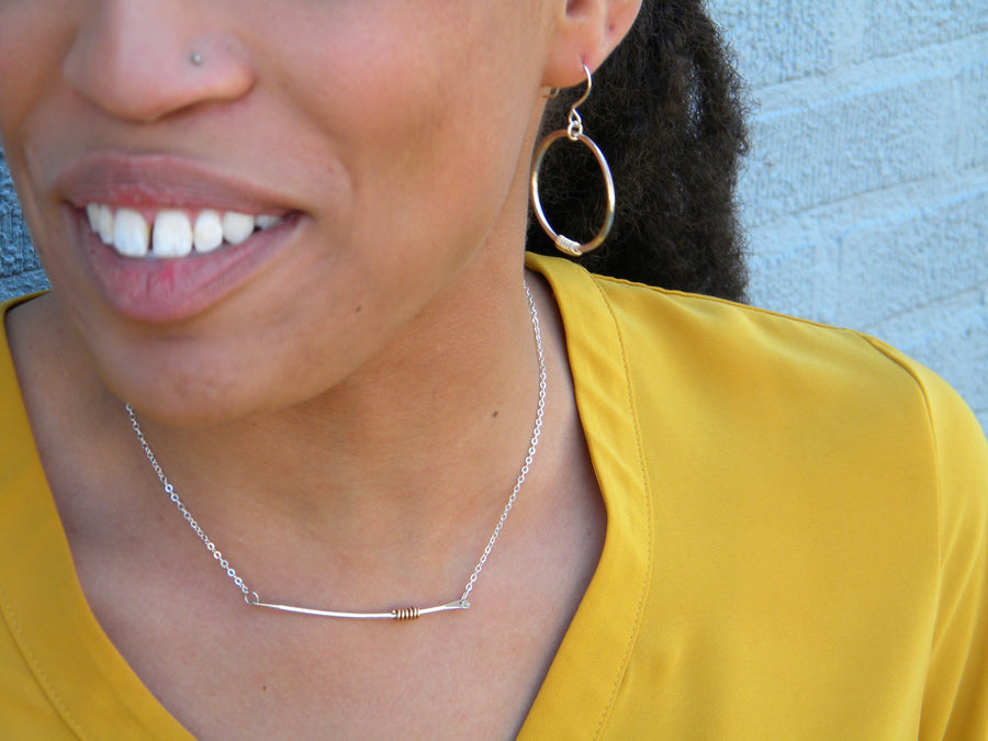 Coils Collection - Recycled Sterling Silver Bar Necklace with Gold Coil - MARTINIJewels
