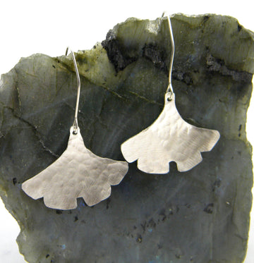 Botanical Series - Ginkgo Leaf Earrings in Recycled Sterling Silver