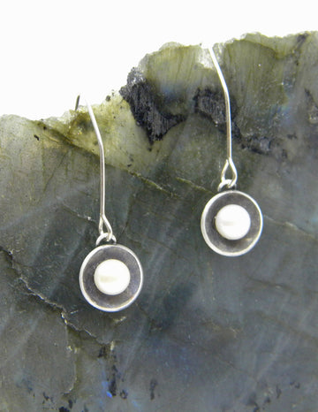 Botanical Series - Nested Pearl Earrings in Recycled Sterling Silver