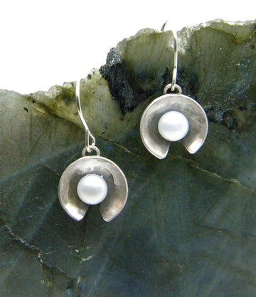 Botanicals Collection Lily Pad Pearl Earrings - in Recycled Sterling Silver