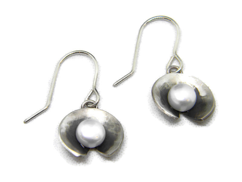 Botanicals Collection Lily Pad Pearl Earrings - in Recycled Sterling Silver - MARTINIJewels