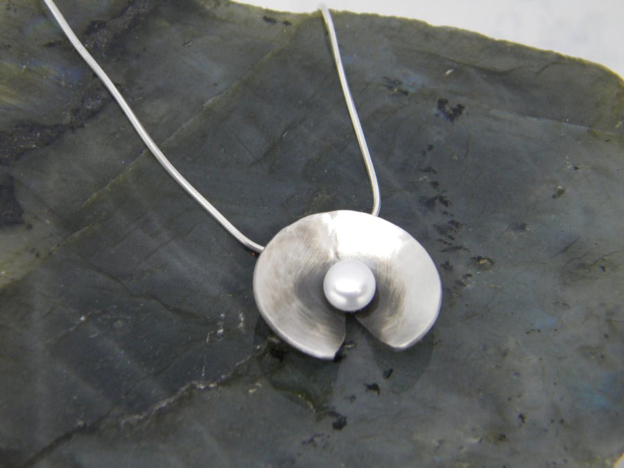 Botanicals Collection - Large Pearl Pendant - in Recycled Sterling Silver