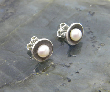 Botanical Series - Nested Pearl Post Earrings in Recycled Sterling Silver