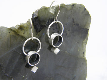 Minimalism Collection - Cylinder Halo Earrings with Bias Square Detail - MARTINIJewels