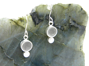 Urban Legend Series - Concrete Hoop Dangle Earrings with Button Detail - V3