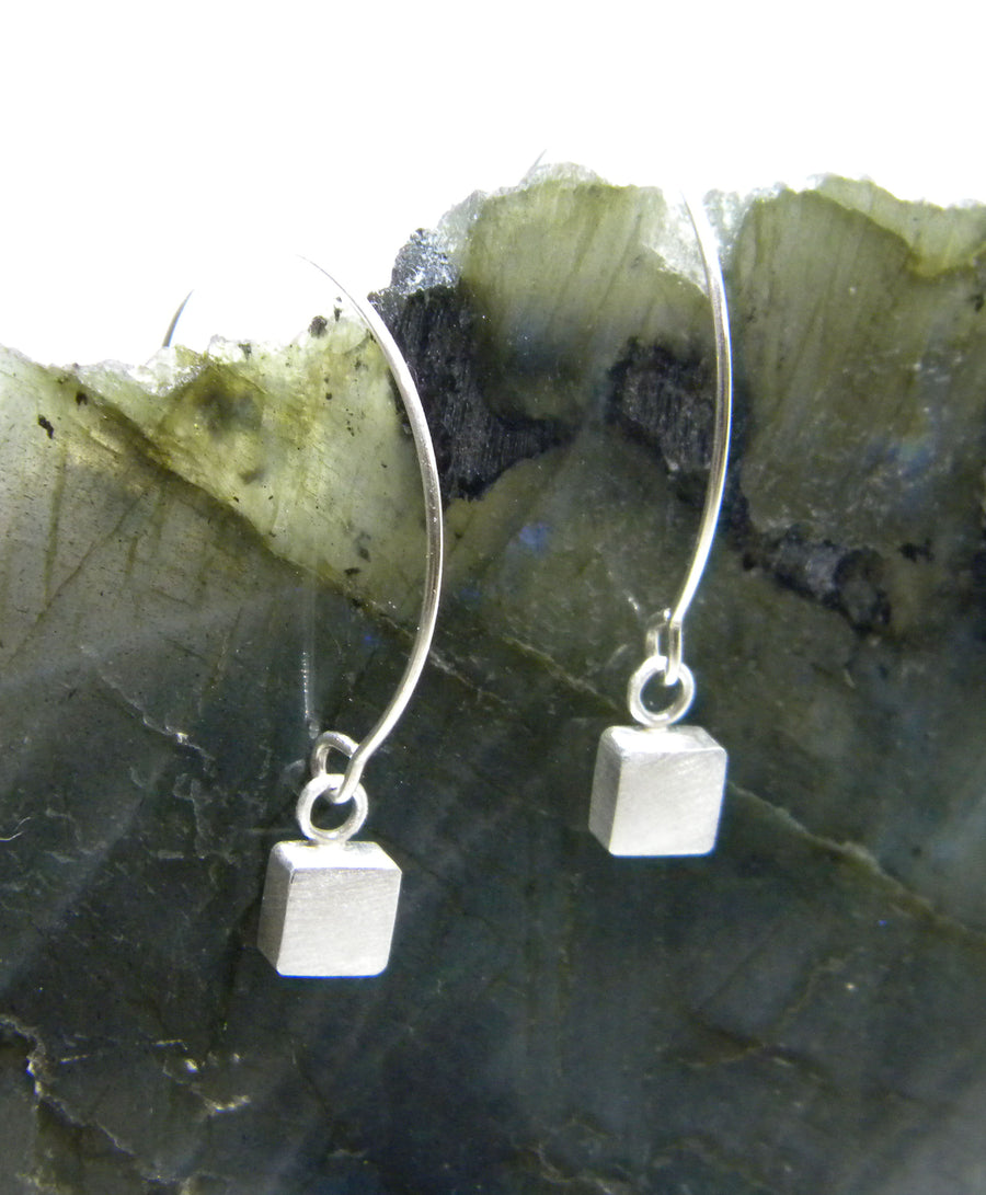 Minimalism Collection - Open Hoop Earring with Sterling Cube Detail - MARTINIJewels