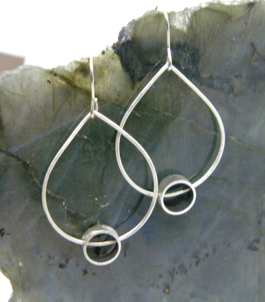 Minimalism Collection - Teardrop Shaped Dangle Earrings with Cylinder Detail - MARTINIJewels