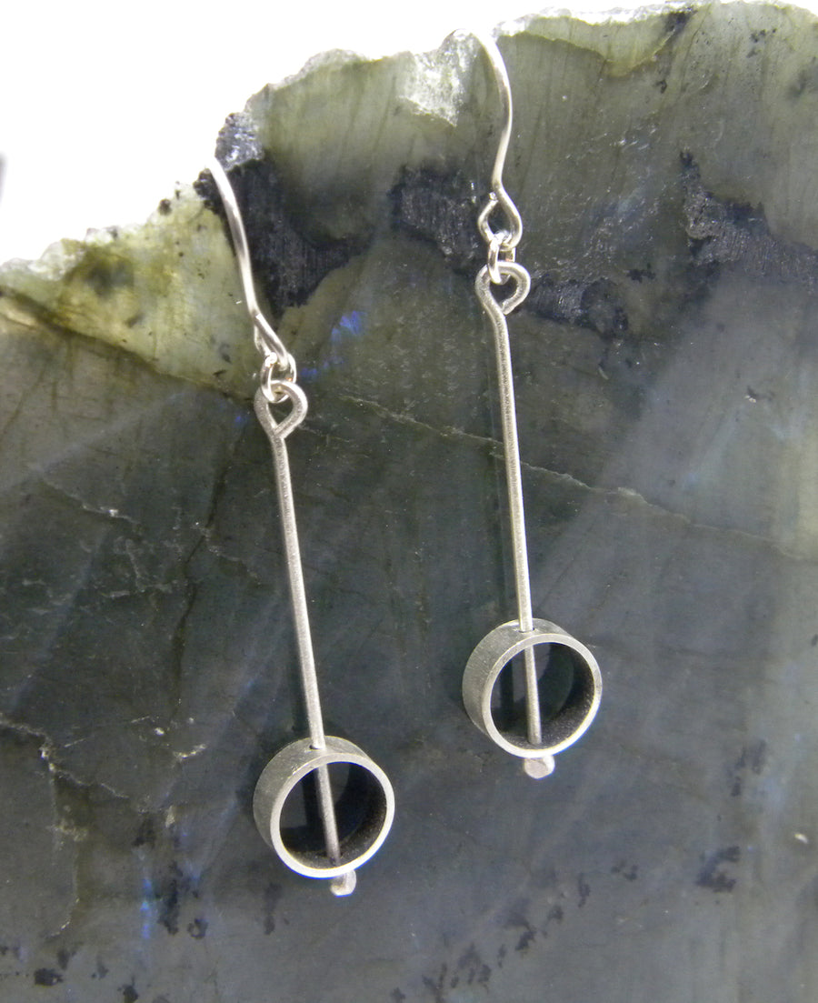Minimalism Collection - Long Straight Dangle Earring with Bisected Cylinder - MARTINIJewels