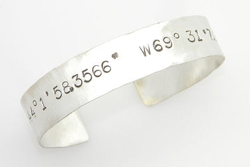 Sterling Silver Latitude and Longitude Coordinates Cuff - MARTINIJewels
