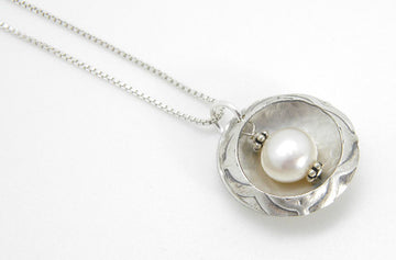Pearls Collection - Nested Pearl Pendant in Recycled Sterling Silver - MARTINIJewels